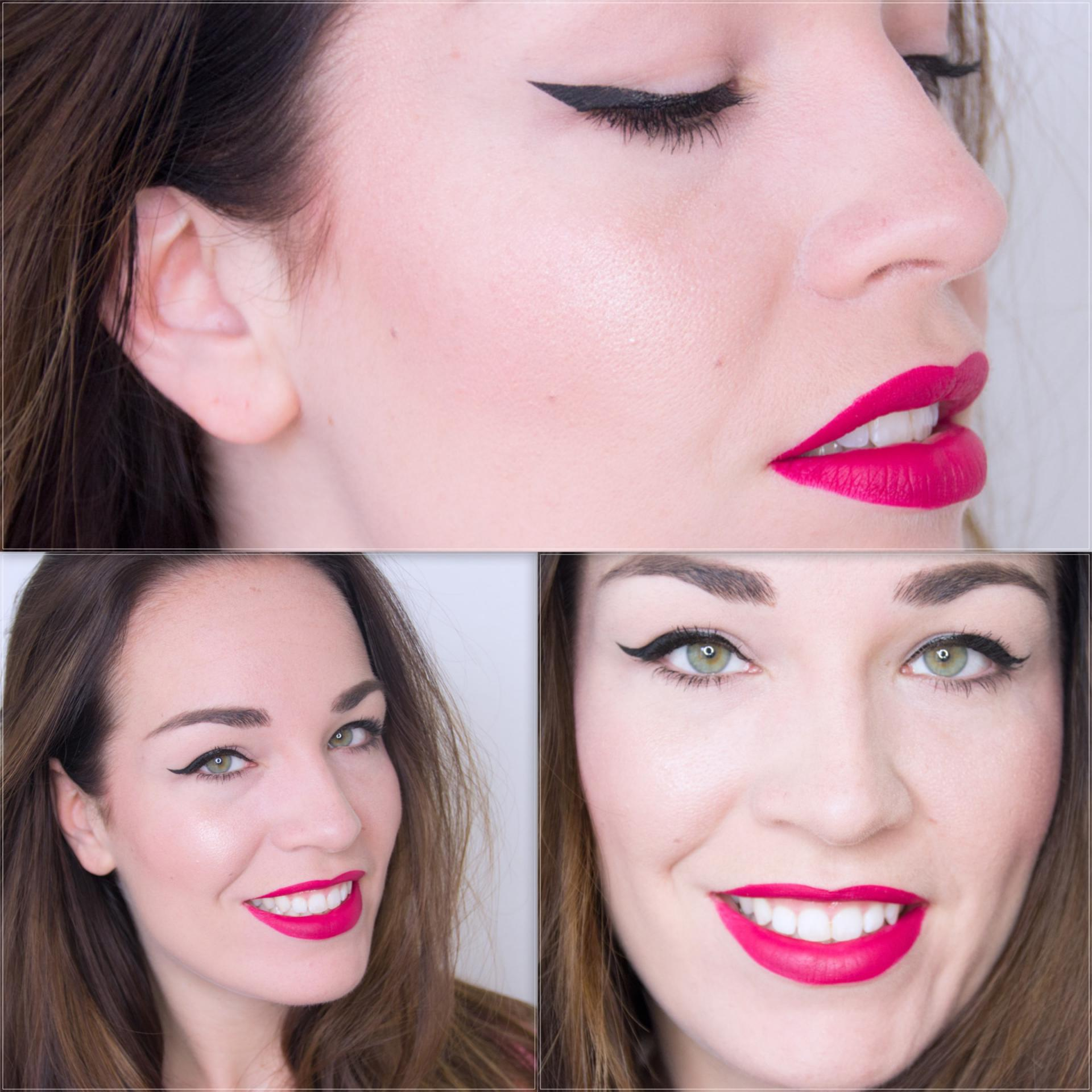 Clean look with winged eyeliner and pink lips