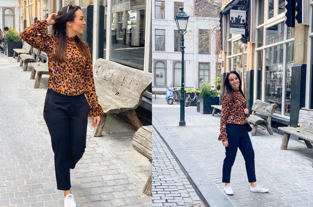 Loavies Luipaarden blouse met pantalon